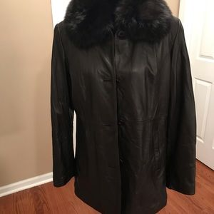 Genuine Leather brown coat Sz M